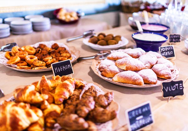 Buffet with sweet and salty products